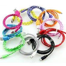 10pcs/lot Colorful New 1M 2M 3M Fabric Nylon Braided Micro USB Cable for Samsung For Blackberry for HTC Cloth Braided Cable