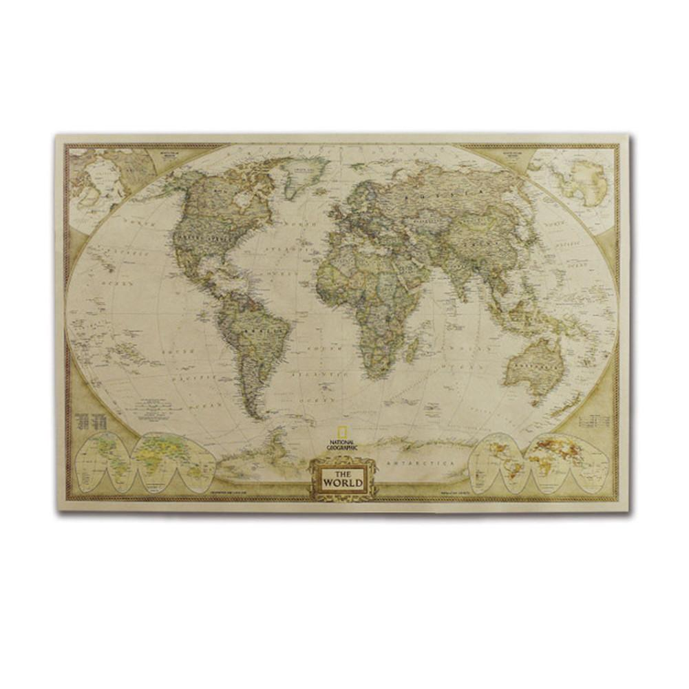 Large Vintage World Map Office Supplies Detailed Antique Poster Wall Chart Retro Paper Matte Kraft Paper 28*18inch Map Of World4