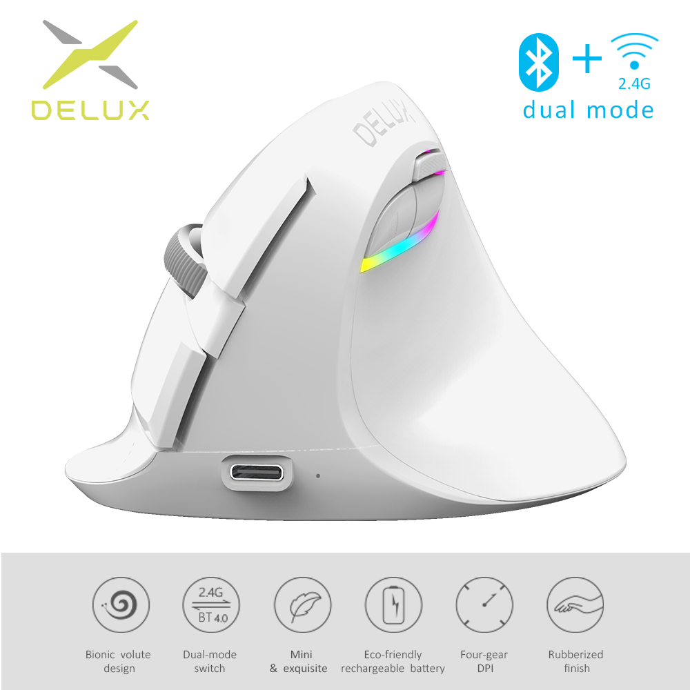 Delux Vertical Mice Ergonomic White Mouse Silent Click Mini Bluetooth-4.0 Rechargeable