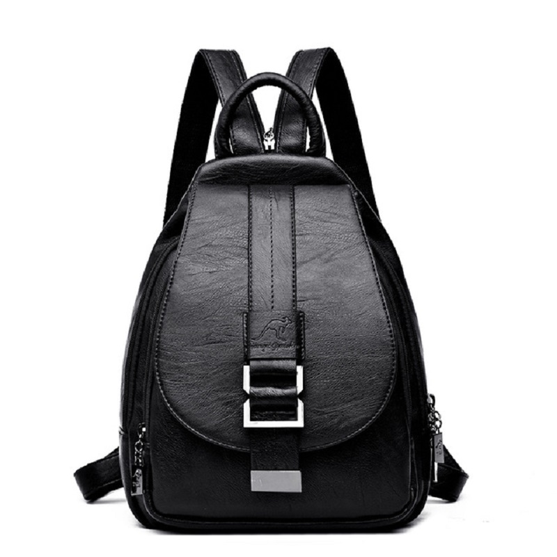 MOOEDCOE PU Leather Backpacks Vintage Shoulder Bag Winter Female Backpack Ladies Travel Backpack Women School Bags