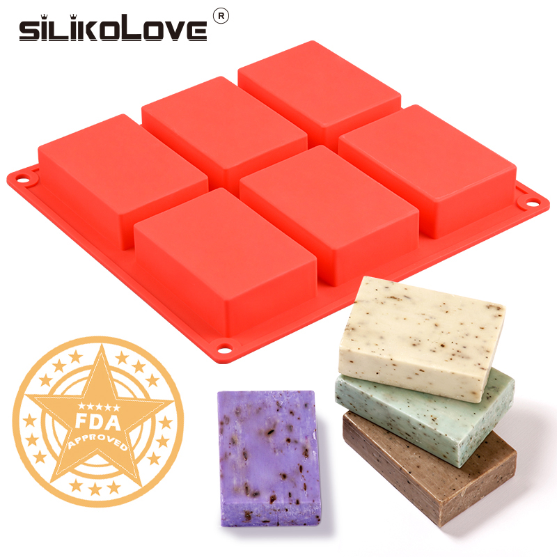 Silicone Mold Tray Making-Soaps Handmade Rectangle DIY Plain 3D 6-Cavity for Soap-Form