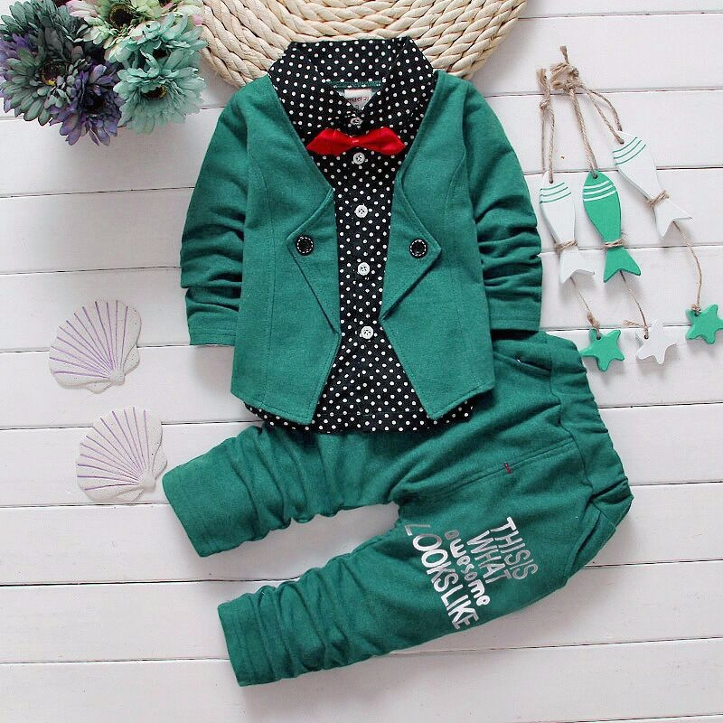 H01f3bcace31943a4ae5525547ac09d410 - Boys Spring Two Fake Clothing Sets Kids Boys Button Letter Bow Suit Sets Children Jacket + Pants 2 pcs Clothing Set Baby