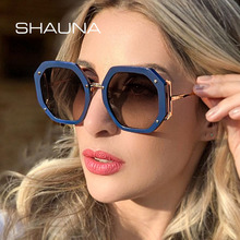 SHAUNA Oversize Hexagon Sunglasses Women Brand Designer Fash