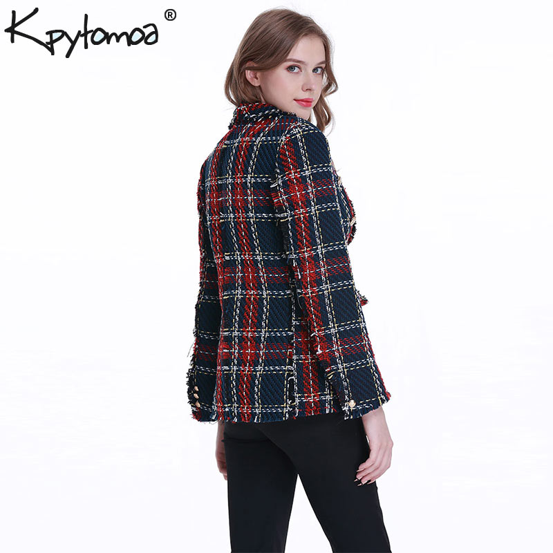 Image 5 - Vintage Double Breasted Frayed Checked Tweed Blazers Coat Women 2019 Fashion Pockets Plaid Ladies Outerwear Casual Casaco Femme-in Blazers from Women's Clothing