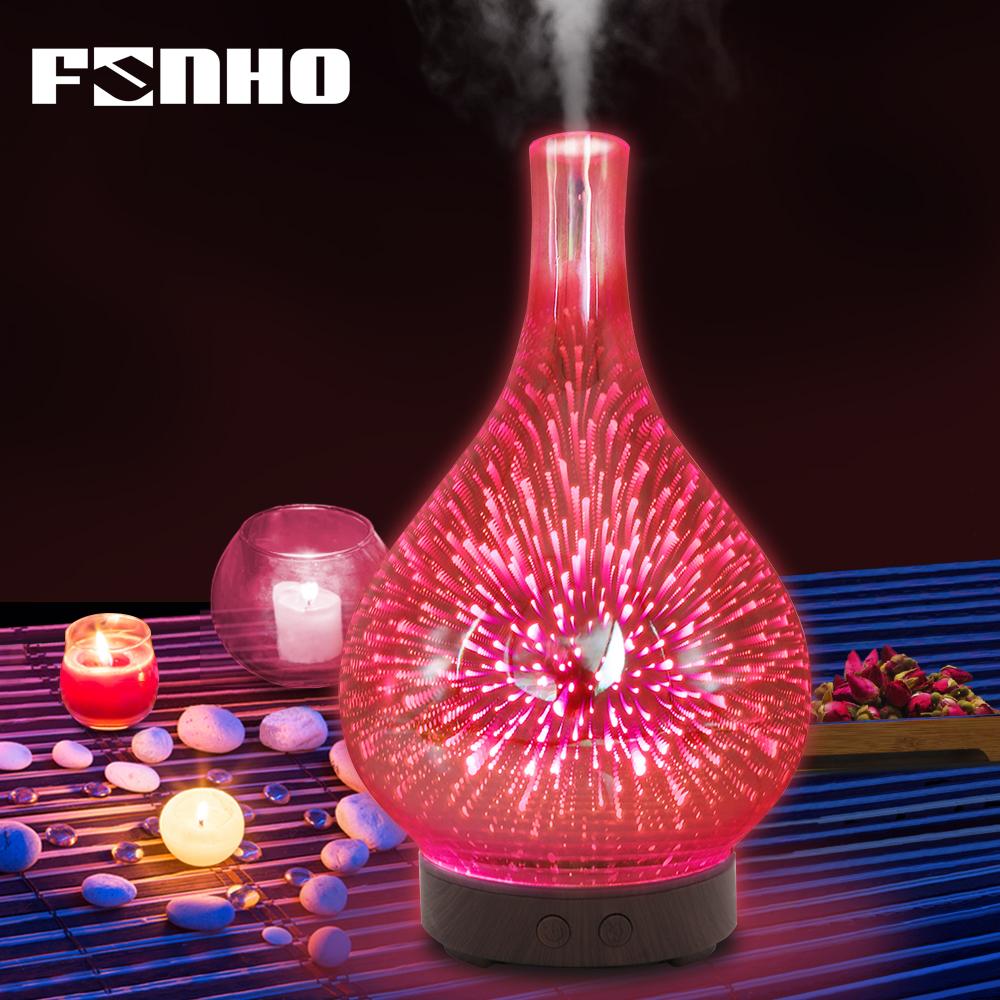 FUNHO 3D Glass Aromatherapy Air Humidifier Aroma Essential Oil Diffuser Ultrasonic Mist Maker 7 Color LED Light For Home Office