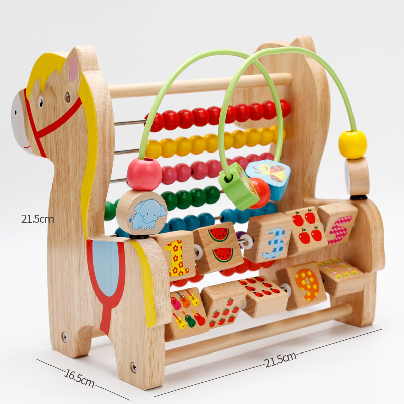 Mwz/MWZ Trojan Bead-stringing Toy Calculation Frame Multi-functional Combination Wooden Toys Bead-stringing Toy Building Blocks