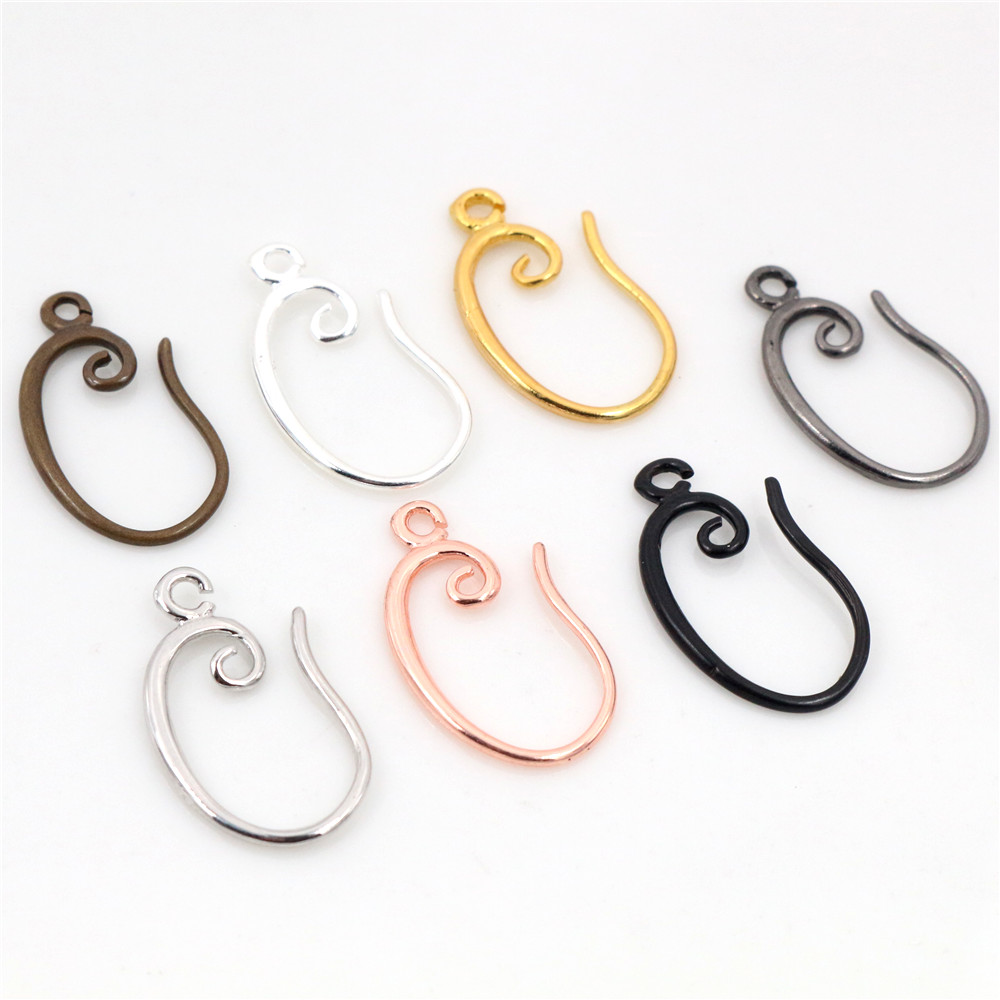 10pcs ( 5pair) 19x11mm High Quality Classic 7 Colors Plated Brass French Earring Hooks Wire Settings Base Settings Whole Sale