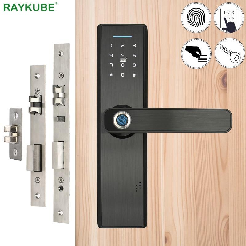 RAYKUBE Fingerprint Lock Smart Card Digital Code Electronic Door Lock Home Security Mortise Lock Wire Drawing Panel R-FG5