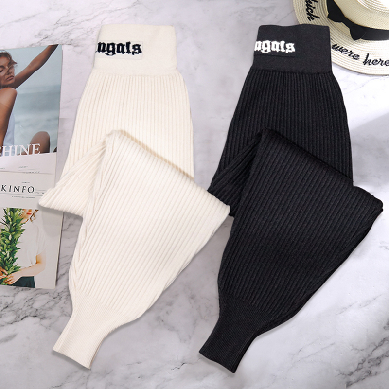Spring Knitted High Waist Sports Pants For Women Autumn Casual  Harem Pants Loose Gray Black Knitted Trousers