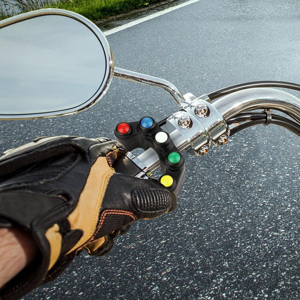 Interruptor de control del manillar interruptor del faro del manillar de la motocicleta rojo interruptor de palanca del manillar de 7//8 pulgadas 22 mm con bot/ón de encendido