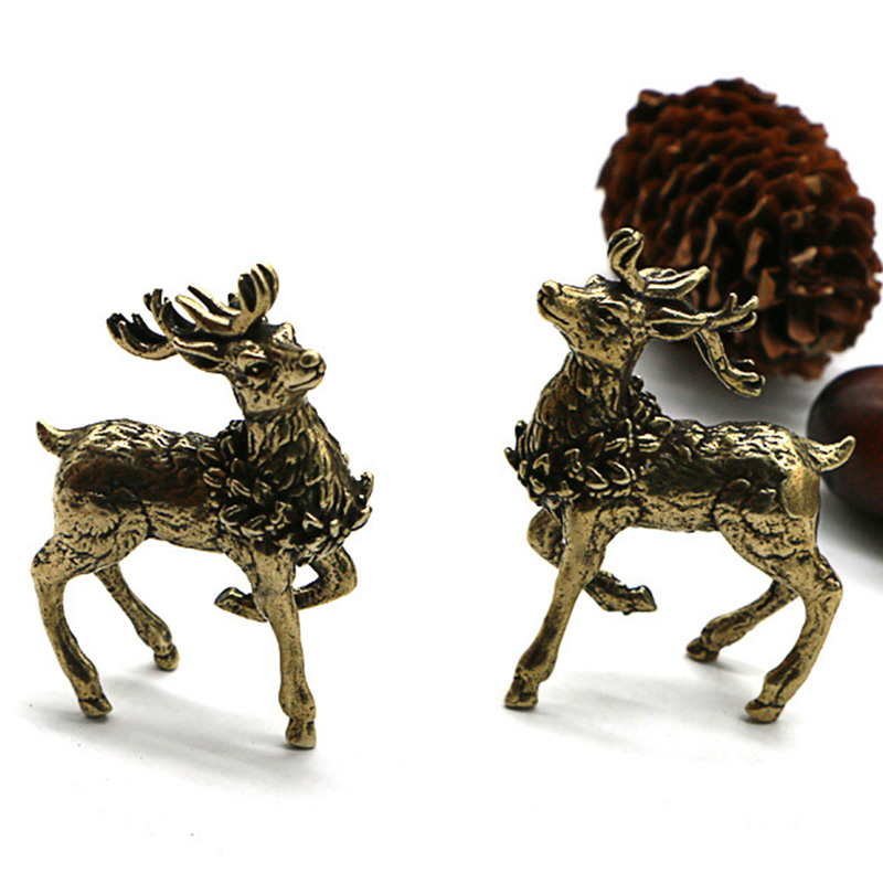 Antique Copper Deer Ornaments 1 Pair Solid Brass Sika Deer Figurines Lucky Feng Shui Crafts Sculpture