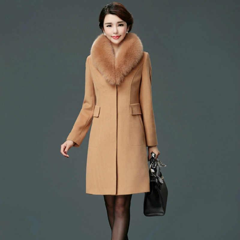 Garemay Wanita Bulu Kerah Mantel Pakaian Pakaian Musim Dingin Fashion Tebal Hangat Wol Campuran Wanita Elegan Wol Mantel untuk Wanita