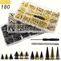 180/80 Sets Punk Rivet Screw Back Studs and Spikes Kit with Tools Leather Craft Rivets Bullet Cone DIY Accessories