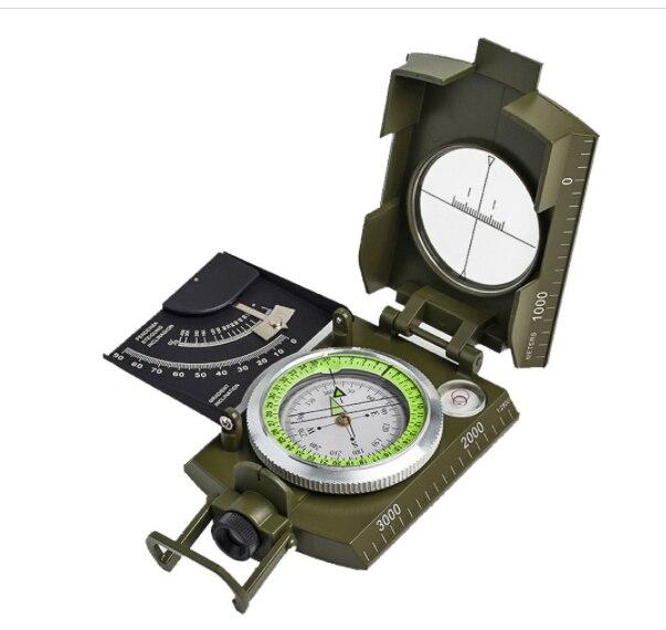 Multifuncional militar bolso metal avistamento bússola clinômetro