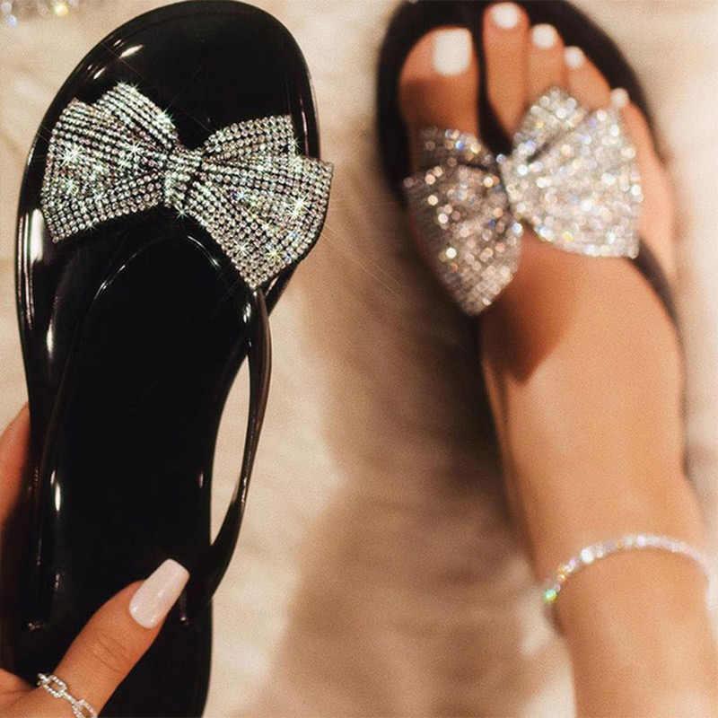נשים קיץ בלינג Bowtie גליטר כפכפים אישה שקופיות נשים נשיות מזדמן שטוח גביש חוף נעלי נשים כפכפים 2020