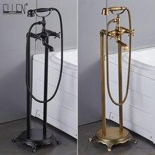Antike Bronze Bodenbelag Bad Wasserhahn mit Hand dusche Boden Stehen Armaturen Badewanne Wasser Mixer EL8701