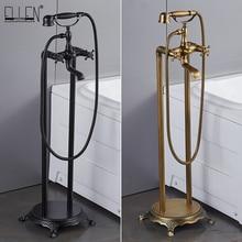 Grifo de baño con suelo de bronce antiguo, con mano, suelo de la ducha grifos con soporte, mezclador de agua para bañera EL8701