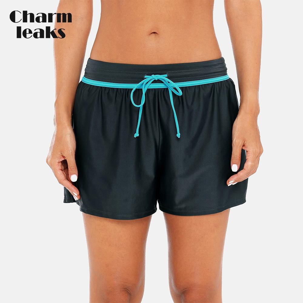 Charmleaks Women Swimming Shorts Patchwork Bikini Bottom Strappy Adjustable Swimwear Briefs Boy Shorts Swimming Trunks