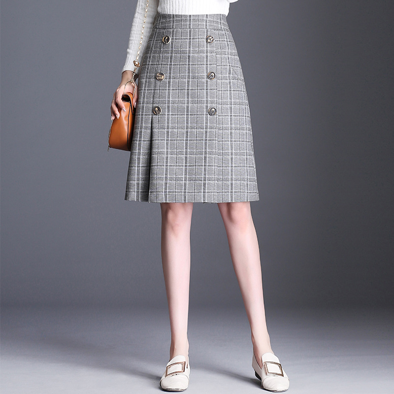 2019 Autumn New Style Skirt Women's Retro Classic Plaid Midi-skirt Versitile Fashion Slim Fit Slimming A- Line Skirt