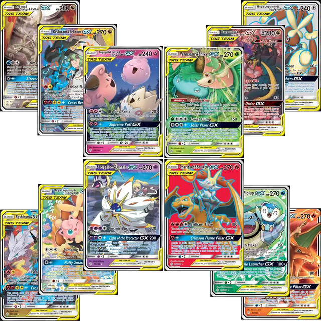 High quality 10 300pcs   cards Tag Team GX EX MEGA Cards  English  Cards Toys For Kids Gift