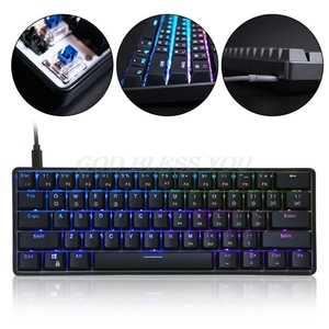 Image 1 - GK61 61 Key Mechanical Keyboard USB Wired LED Backlit Axis Gaming Mechanical Keyboard For Desktop Drop Shipping