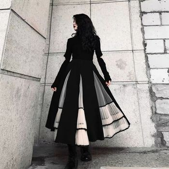 Retro fall winter new vintage pleated splicing fluffy skirt autumn black skirt mid-length black pleated elegant skirt women retro style women s lace splicing fishtail skirt