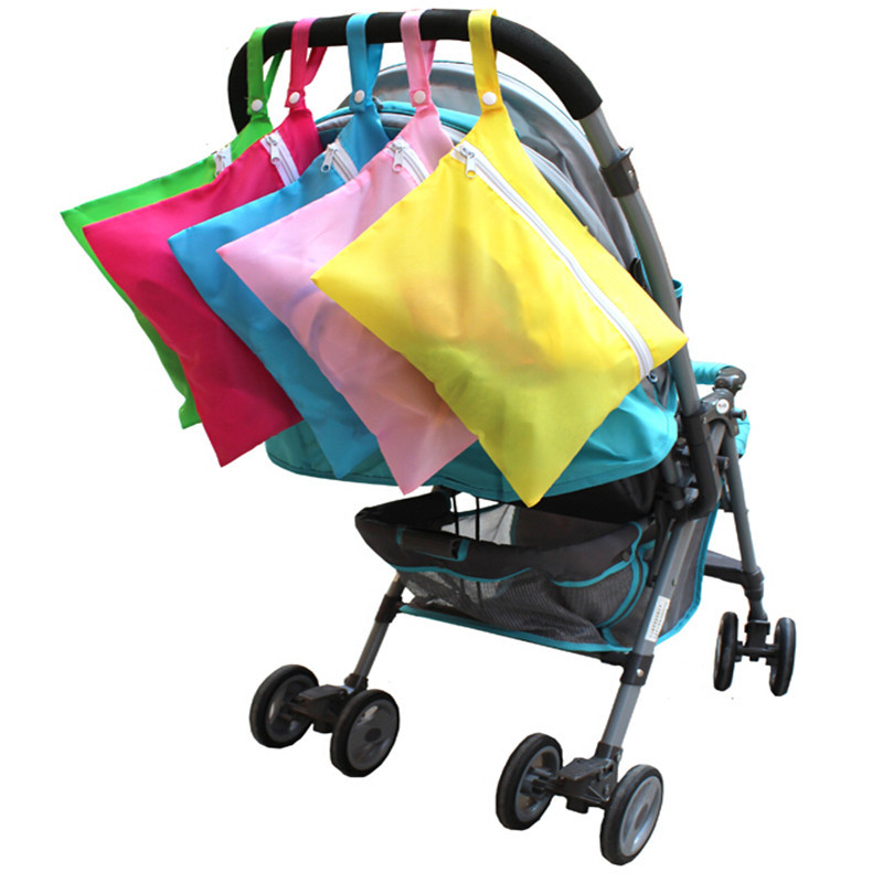 5Colors Portable Baby Diaper Bags Solid Baby Out Clothes Feeding Bottles Nappy Changing Bibs Hang Stroller Storage Bag