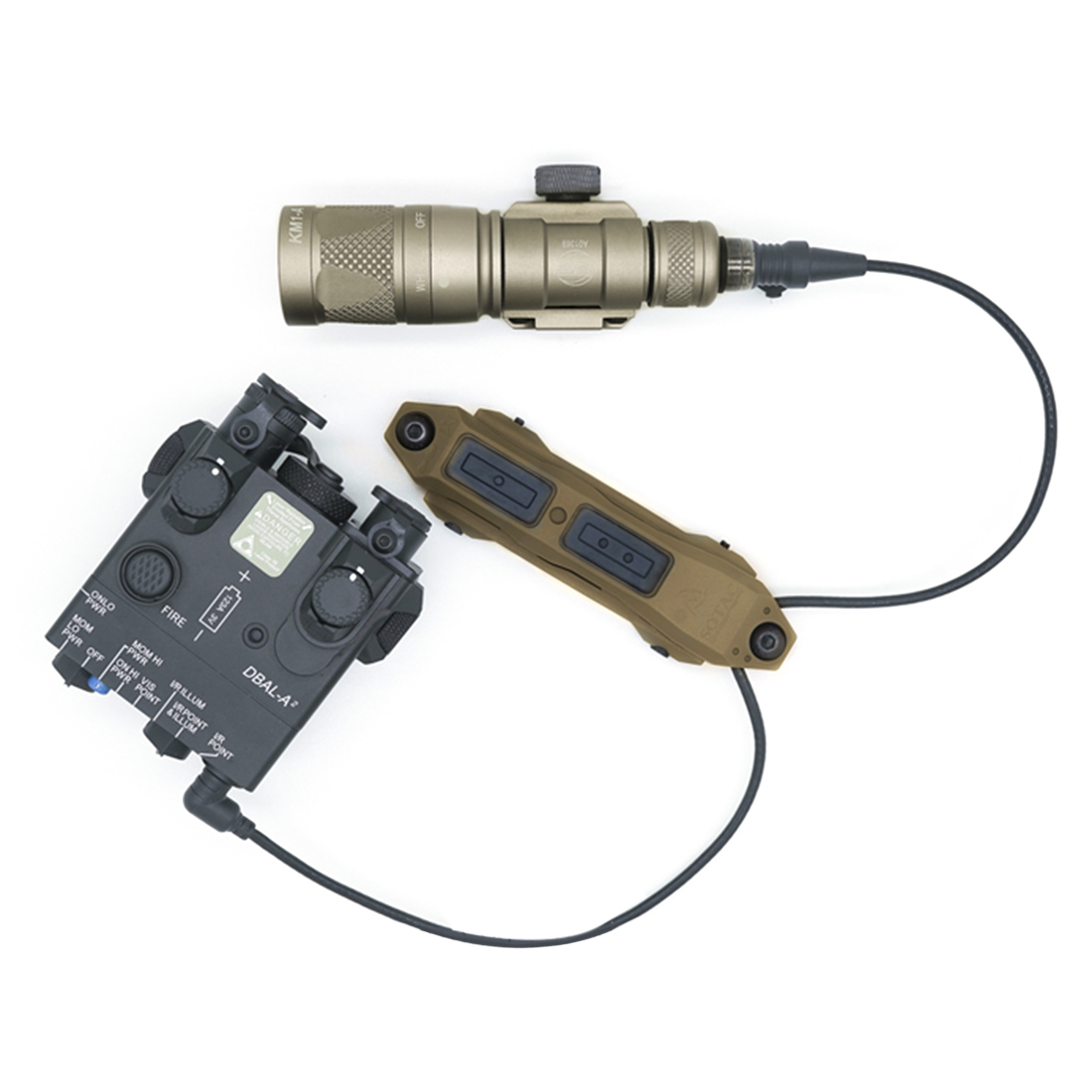 NewSoTac Night Vision IR PEQ15 Dbal <font><b>A2</b></font> Laser Sight Aimed Battery <font><b>Box</b></font> Tactical Equipment - Tan IR Infrared Fill <font><b>Light</b></font> Version image