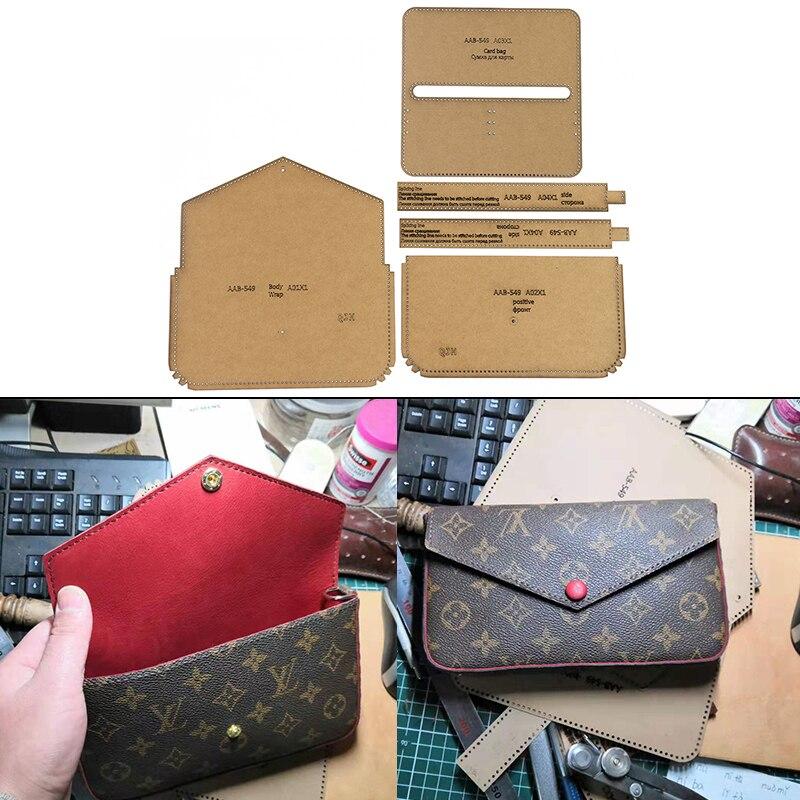 DIY Handmade Ladies Shoulder Bags Crossbody Bag Card Package Hand Wallet Kraft Paper Template Handmade Leather Craft Bag Templat