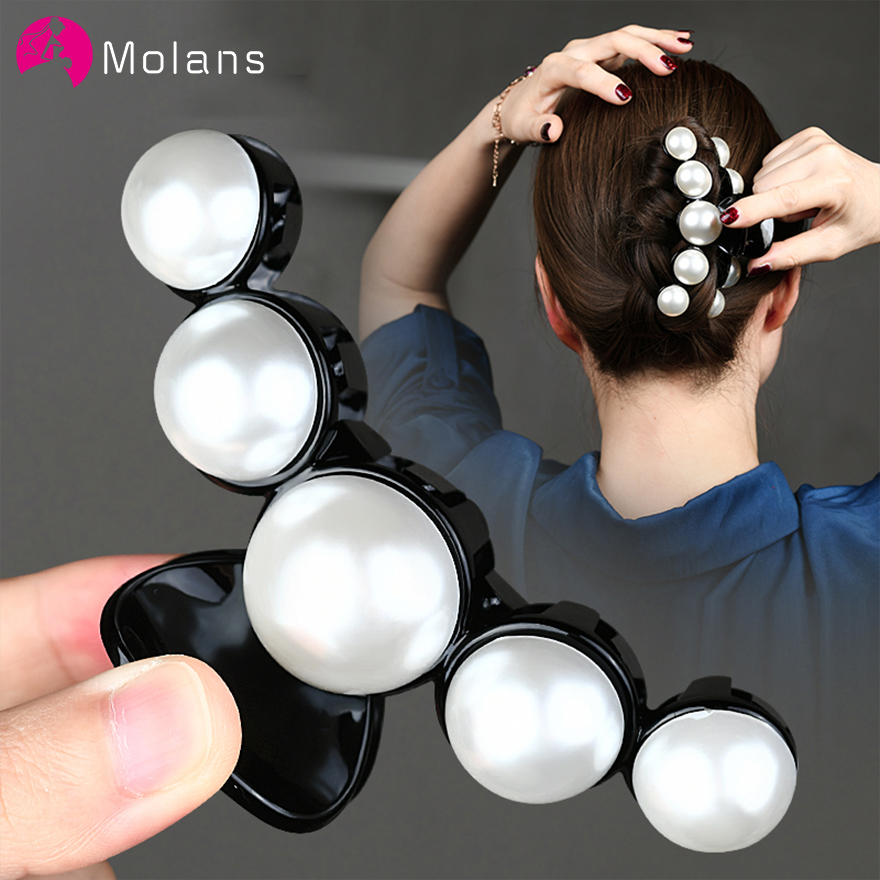Molans Hair Accessories With Pearls Solid Hair Claws For Women Korean Pearl Hairpin Horsetail Hair Clips Girls Hair Make Up