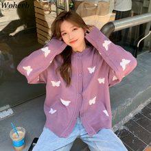 Woherb – Cardigan tricoté surdimensionné pour femme, vêtements d'hiver, pull-Coat, ample, coréen, imprimé papillon, Tops, nouvelle collection 2020