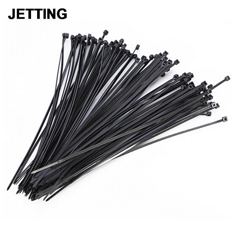 Lots 100pcs Black White Network Nylon Plastic Cable Wire Zip Tie Cord Strap