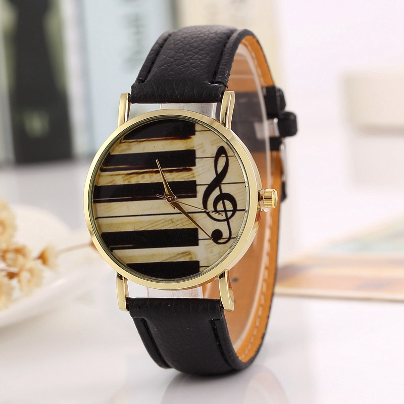 New Couples Women Men Watches Piano Note Dial Fashion Watch Belt Watch Hot Sale Leather Band 2020 New Arrival