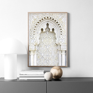 Image 4 - Moroccan Arch Old Door Canvas Painting Islamic Building Wall Art Poster Hassan II Mosque Print Muslim Modern Decoration Picture