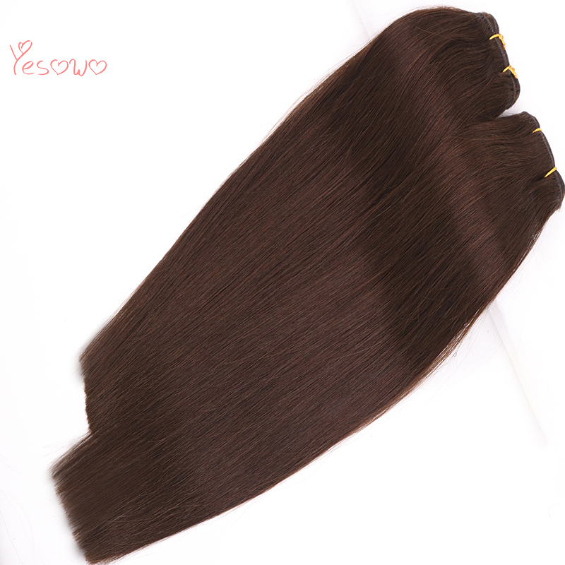 Yesowo 2# Dark Brown Silky Straight Human Hair Weft Bundles 100g Brazilian Remy Hair Weave Extensions With High Quality