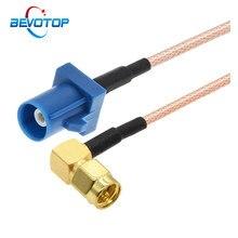1 pçs azul fakra c macho para sma macho ângulo direito plugue rf coaxial rg316 trança de navegação do carro gps antena adaptador cabo extensão