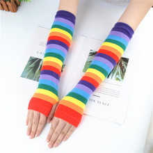 Arm-Sleeves Rainbow Sun-Protection Harajuku Striped Women Summer Cute Candy-Color Students