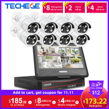 """تيشيج 8CH 1080P 12 """"شاشة الكريستال السائل POE طقم NVR HD 2MP IP كاميرا اتجاهين الصوت في الهواء الطلق المراقبة POE CCTV نظام الكاميرا الأمنية"""