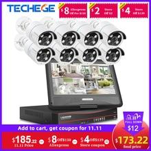 Techege KIT de NVR POE con pantalla LCD de 12 pulgadas, cámara IP HD de 2MP, Audio bidireccional, vigilancia en exterior, Sistema de cámaras de seguridad CCTV POE, 8 canales, 1080P