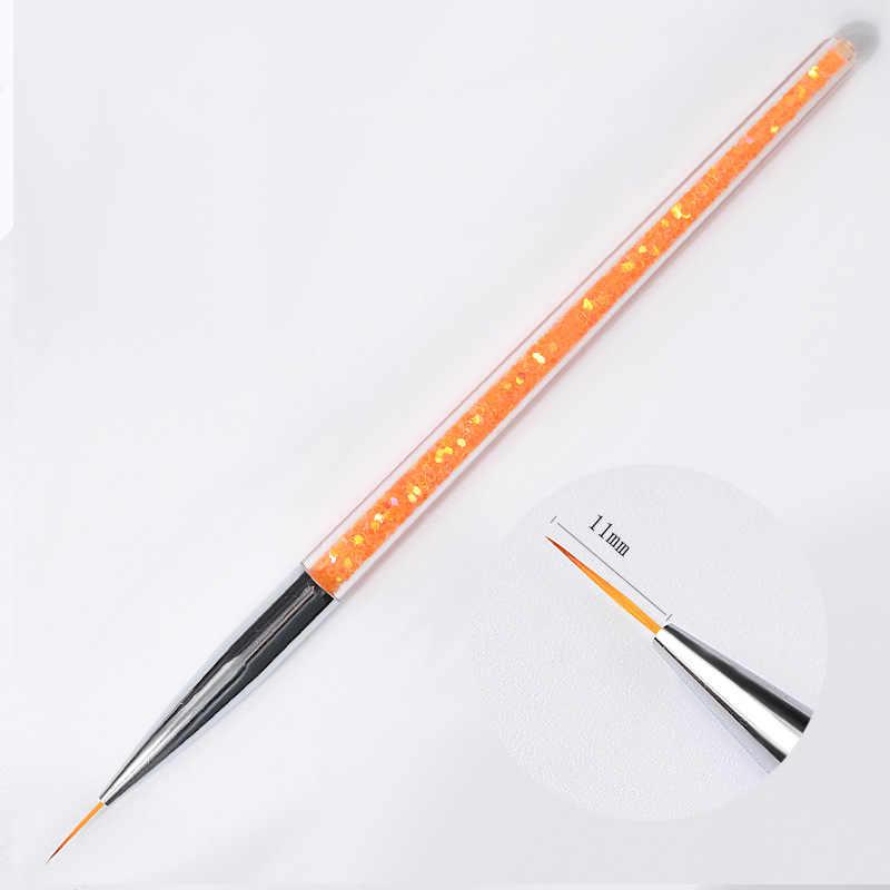 3 ชิ้น/เซ็ต 7/9/11mm Sequins เล็บอะคริลิคแปรงดอกไม้ลายเส้น Liner DIY ปากกาเล็บเครื่องมือ