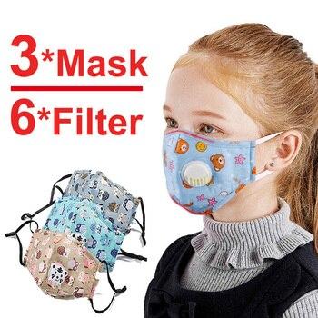 3 PCS Del Fumetto PM2.5 Bambini Maschera Maschera Con 6 Filtri Respiro Bocca Valvola Viso Maschera Per Bambini Lavabile Maschera Maschera di Polvere a prova di sterile In Magazzino 1