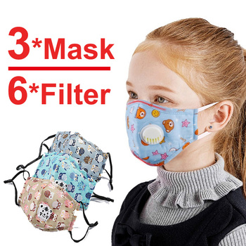3 PCS Cartoon PM2.5 Children Mask With 6 Filters Breath Valve Mouth Face Mask Kids Washable Mask Dust-proof Sterile In Stock