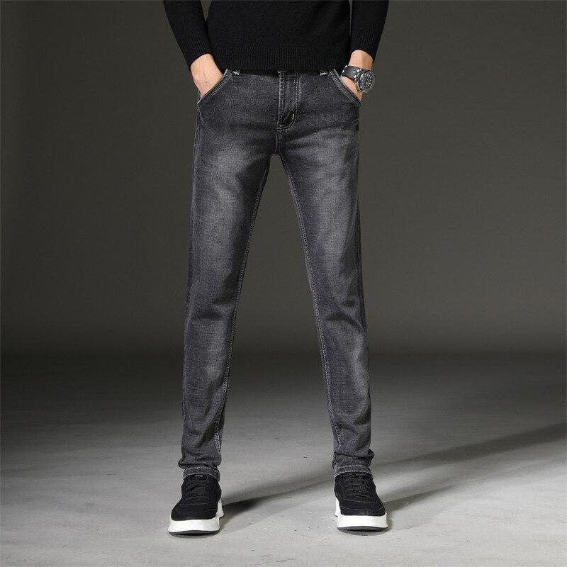 Four Seasons Greyish Black Jeans Men's New Style Elasticity Slim Fit Straight-Cut Men's Trousers Medium Waist Pants Agent 815
