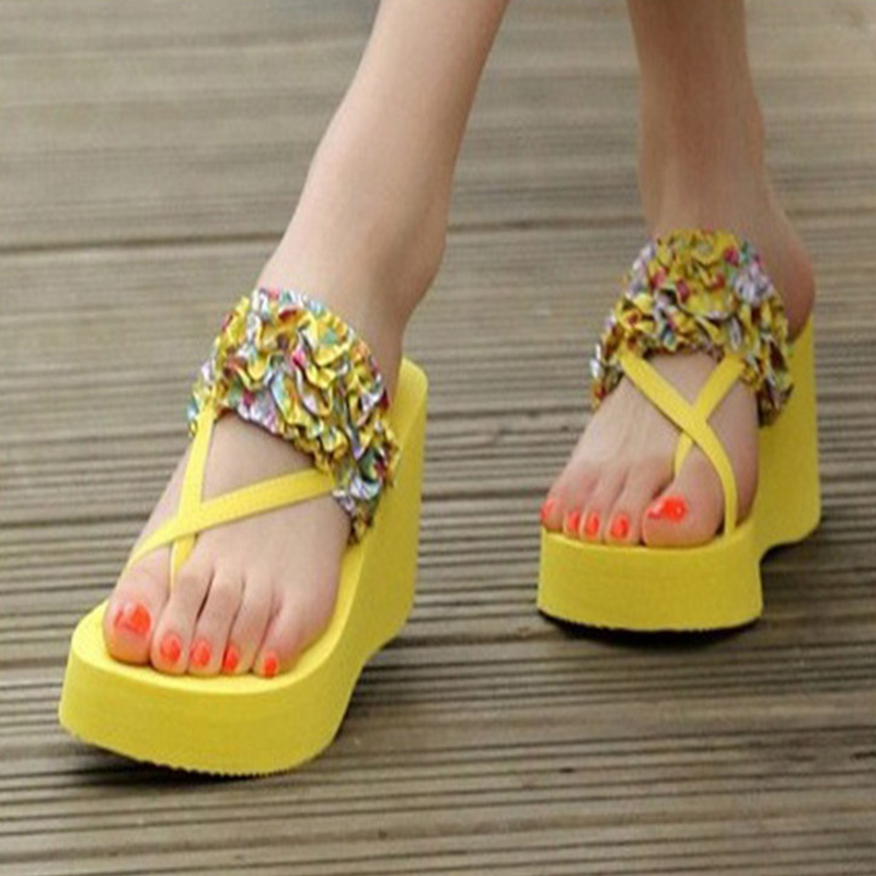 Ladies Beach Shoes 2020 Fashion Flowers Splicing EVA Sole Heighten Breathable Waterproof High Quality Comfortable Beach Sandals