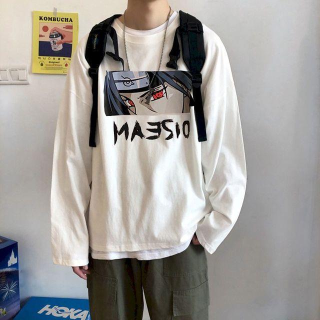 Punk streetwear t-shirt femmes t-shirt Naruto à manches longues hommes t-shirt coréen automne veste ample Hong Kong veste Uchiha Itachi