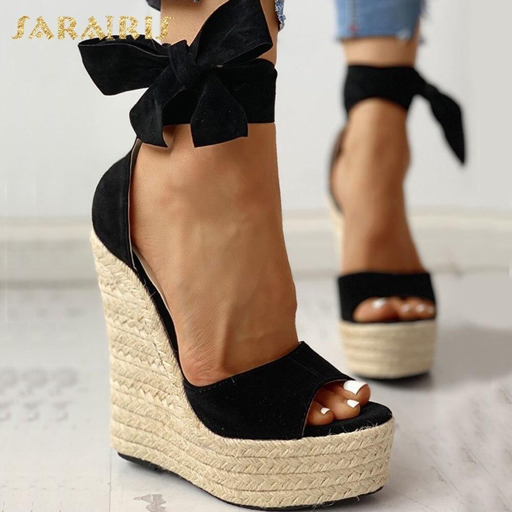 2089.72руб. 44% СКИДКА|SARAIRIS/2020 брендовые пикантные туфли на танкетке и высоком каблуке; босоножки; женская летняя обувь с ремешками на лодыжках для вечеринки; женские босоножки|Боссоножки и сандалии| |  - AliExpress