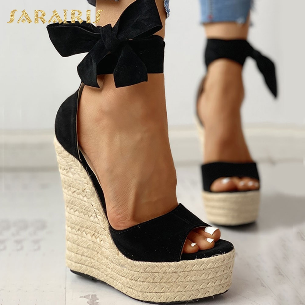 SARAIRIS brand 2020 sexy platform wedges high heels Shoes sandals women Straw Summer Party ankle-wrap Shoes Woman sandals title=