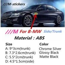 M esporte m power emblema adesivos lado asa emblema fender tronco do carro logotipo para bmw x3 x5 x6 m3 m4 m5 320 325 e36 e46 e90 e92 f10 f30