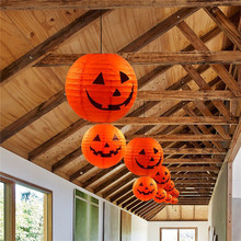цена DIY Halloween Paper Lantern Pumpkin Hanging Lamp Holiday Party Decor Home Garden Festival Scary Decoration Light