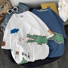 Мужская свободная футболка с круглым вырезом и принтом «крокодиловая